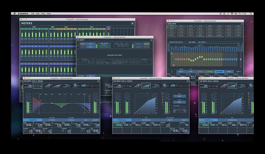 Az RCS kezelőfelülettel, egyedi elrendezésű kezelőfelületet hozhatunk létre PC vagy Mac számítógépünk képernyőjén.